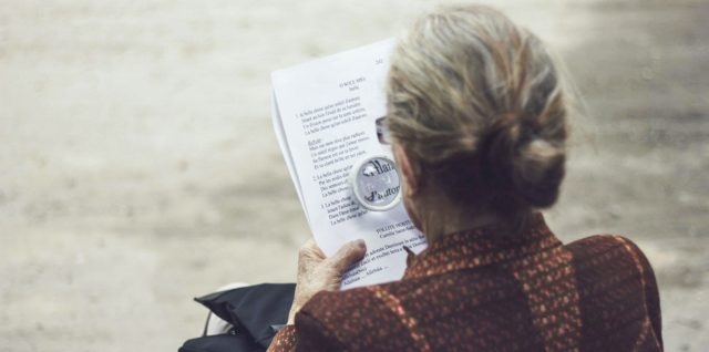 A woman reading about health